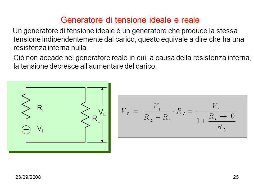 Generatore di tensione ideale e reale