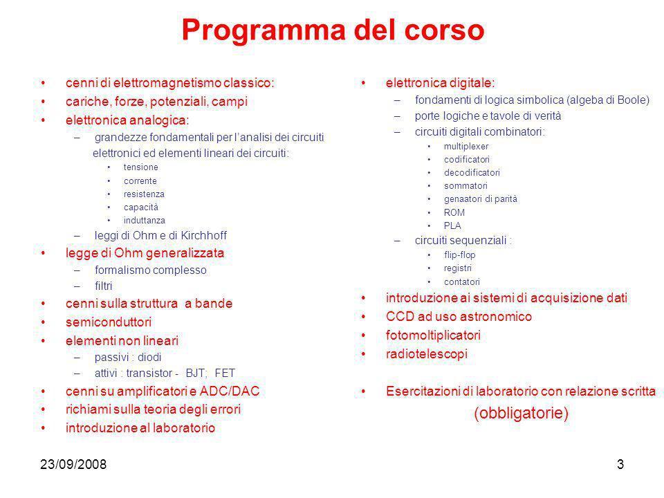 Programma del corso (obbligatorie)