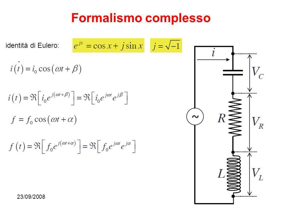 Formalismo complesso identità di Eulero: 23/09/2008