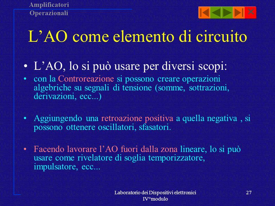 L'AO come elemento di circuito
