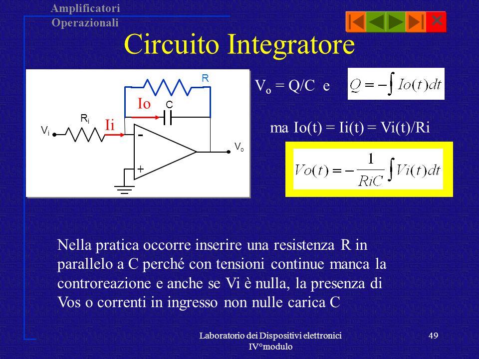 Circuito Integratore Vo = Q/C e Io Ii ma Io(t) = Ii(t) = Vi(t)/Ri -