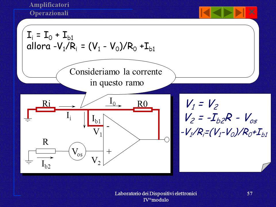 V1 = V2 V2 = -Ib2R - Vos Ii = I0 + Ib1