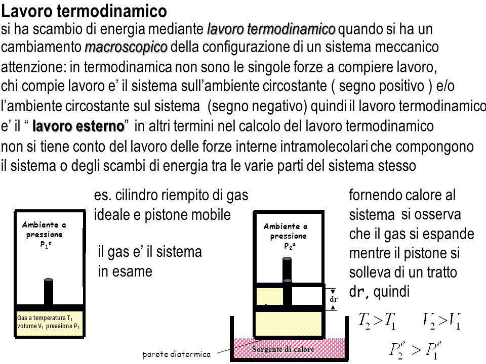 Lavoro termodinamico si ha scambio di energia mediante lavoro termodinamico quando si ha un.