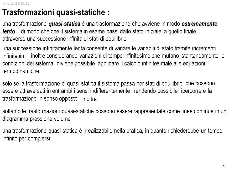 Trasformazioni quasi-statiche :
