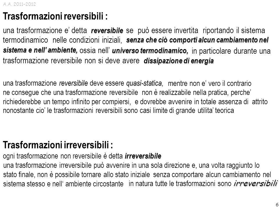 Trasformazioni reversibili :