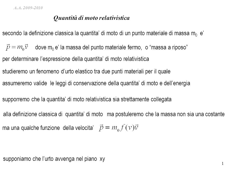 Quantità di moto relativistica