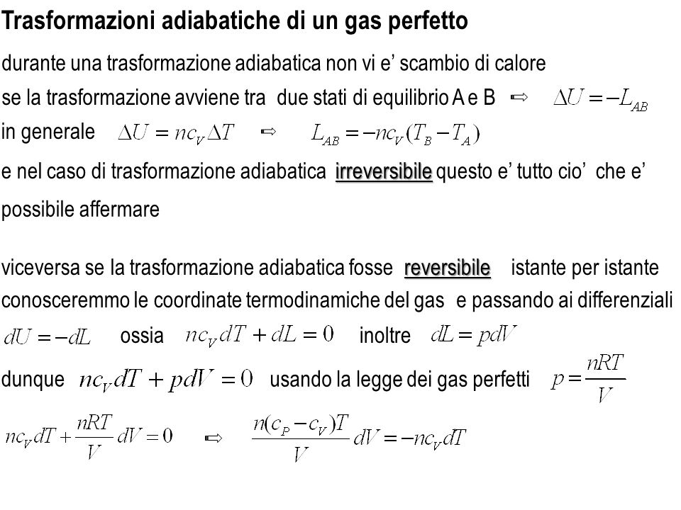 Trasformazioni adiabatiche di un gas perfetto