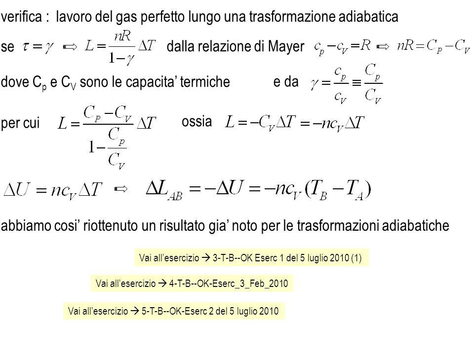 lavoro del gas perfetto lungo una trasformazione adiabatica
