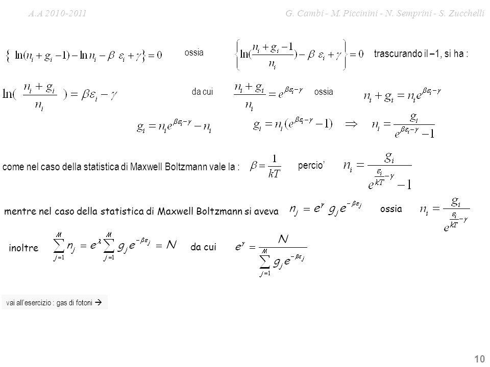 come nel caso della statistica di Maxwell Boltzmann vale la : percio'