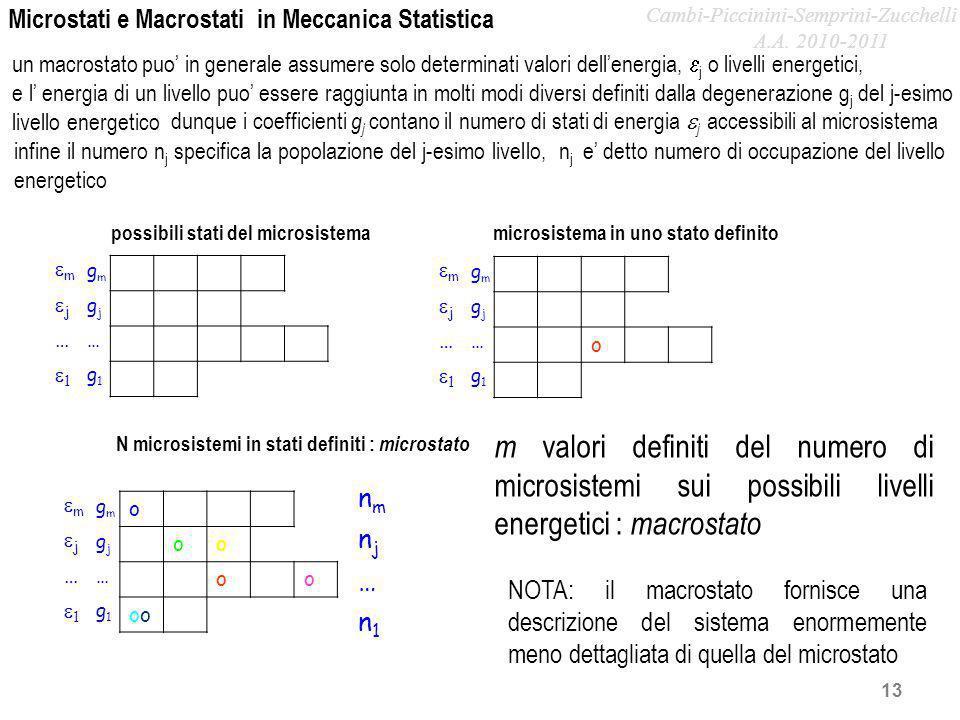 Microstati e Macrostati in Meccanica Statistica