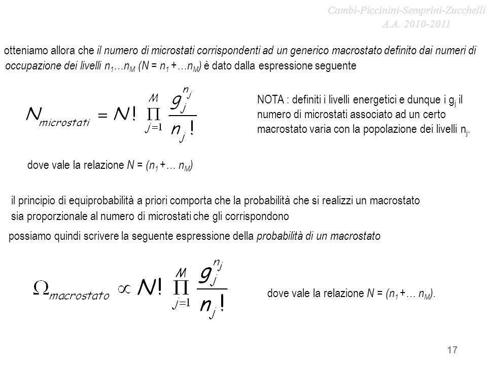 dove vale la relazione N = (n1 +… nM)
