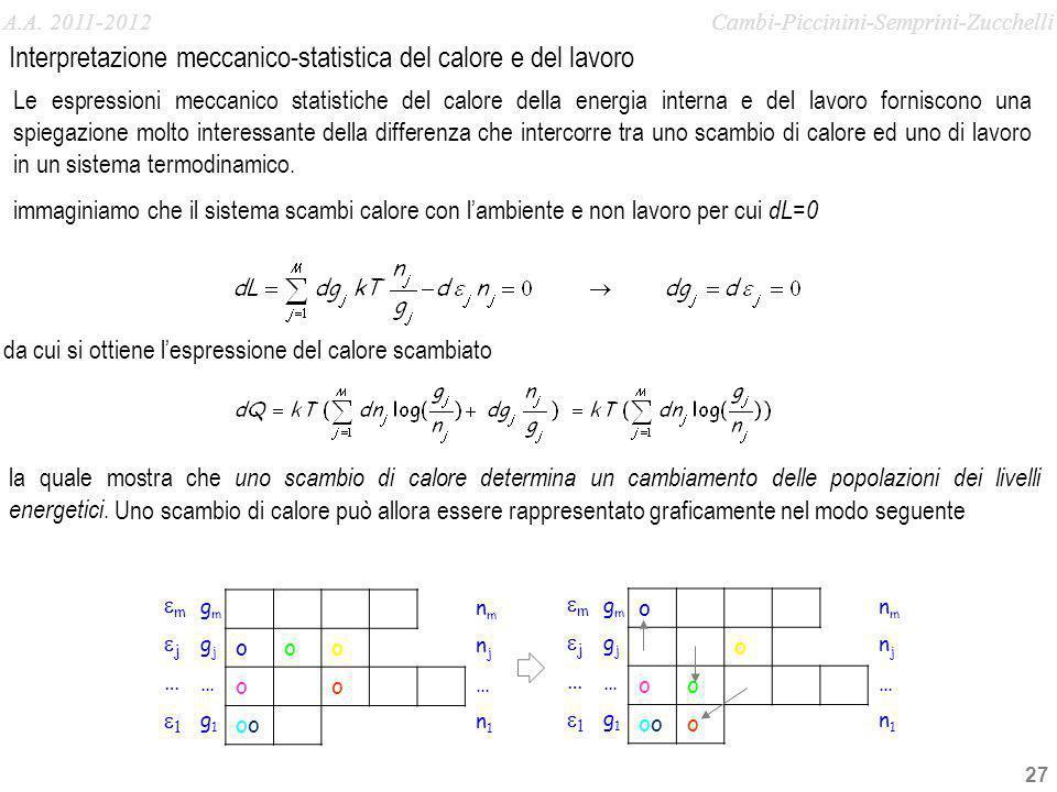 Interpretazione meccanico-statistica del calore e del lavoro