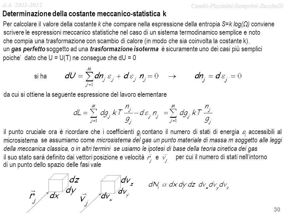 Determinazione della costante meccanico-statistica k