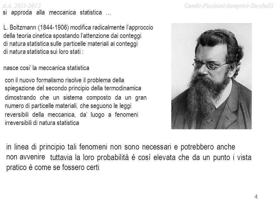 A.A. 2011-2012 Cambi-Piccinini-Semprini-Zucchelli. si approda alla meccanica statistica …
