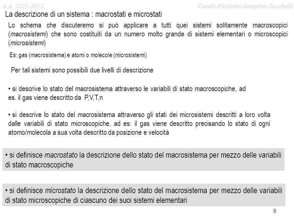La descrizione di un sistema : macrostati e microstati