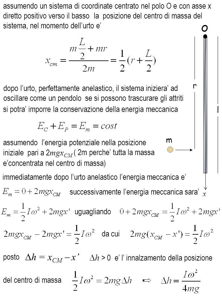 Dh = xCM - x' h > 0 e' l' innalzamento della posizione