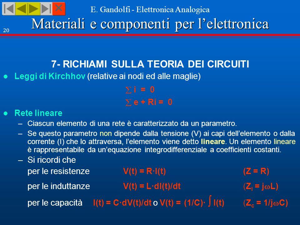 7- RICHIAMI SULLA TEORIA DEI CIRCUITI
