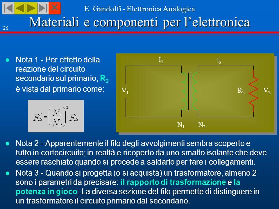 Nota 1 - Per effetto della reazione del circuito secondario sul primario, R2 è vista dal primario come: