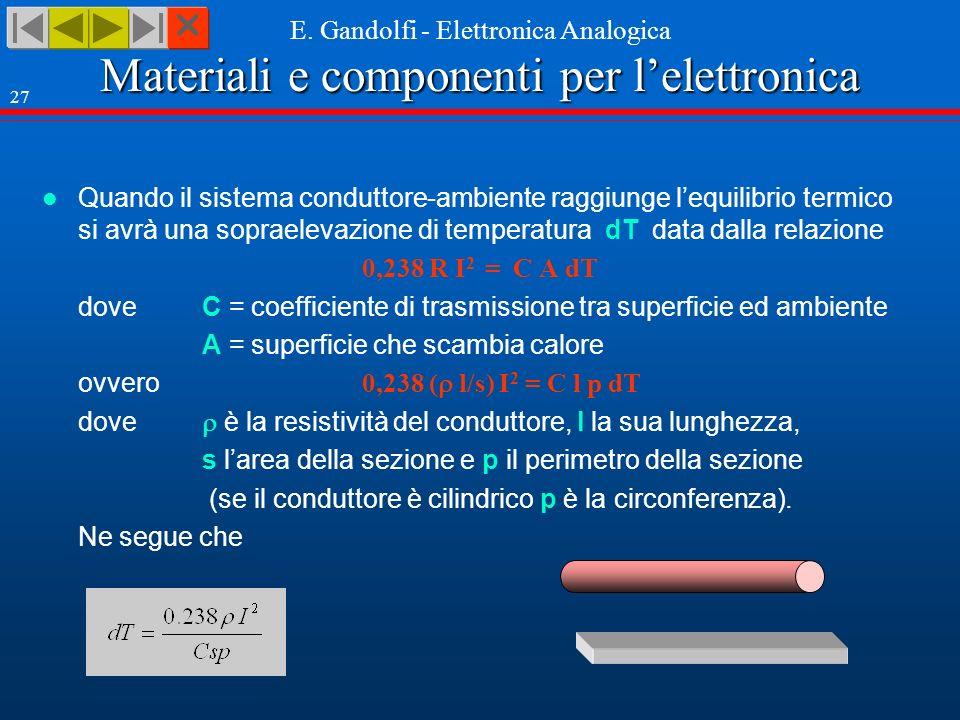 Quando il sistema conduttore-ambiente raggiunge l'equilibrio termico si avrà una sopraelevazione di temperatura dT data dalla relazione