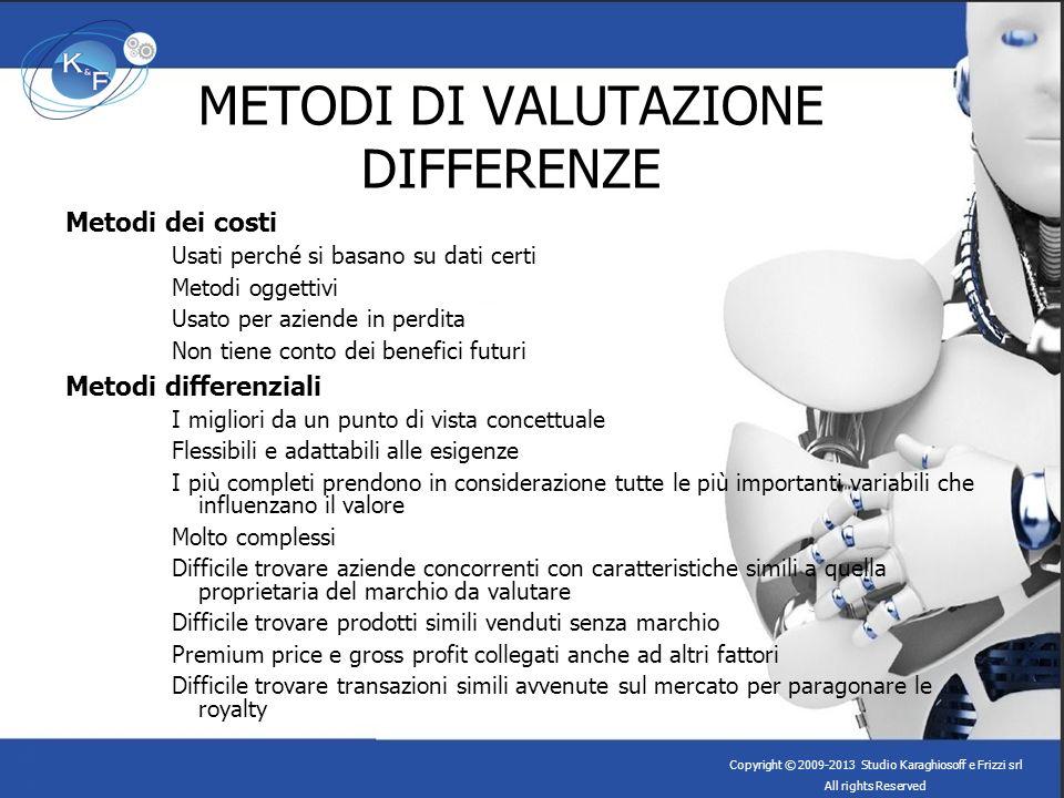 METODI DI VALUTAZIONE DIFFERENZE