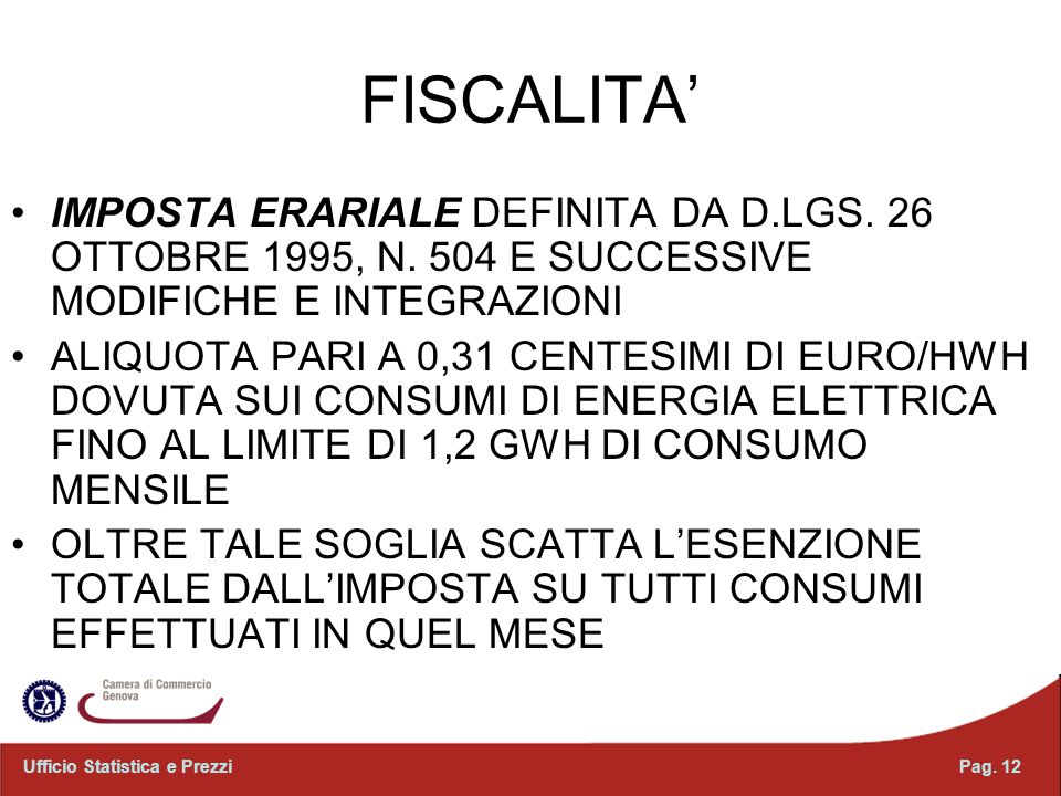 FISCALITA' IMPOSTA ERARIALE DEFINITA DA D.LGS. 26 OTTOBRE 1995, N. 504 E SUCCESSIVE MODIFICHE E INTEGRAZIONI.