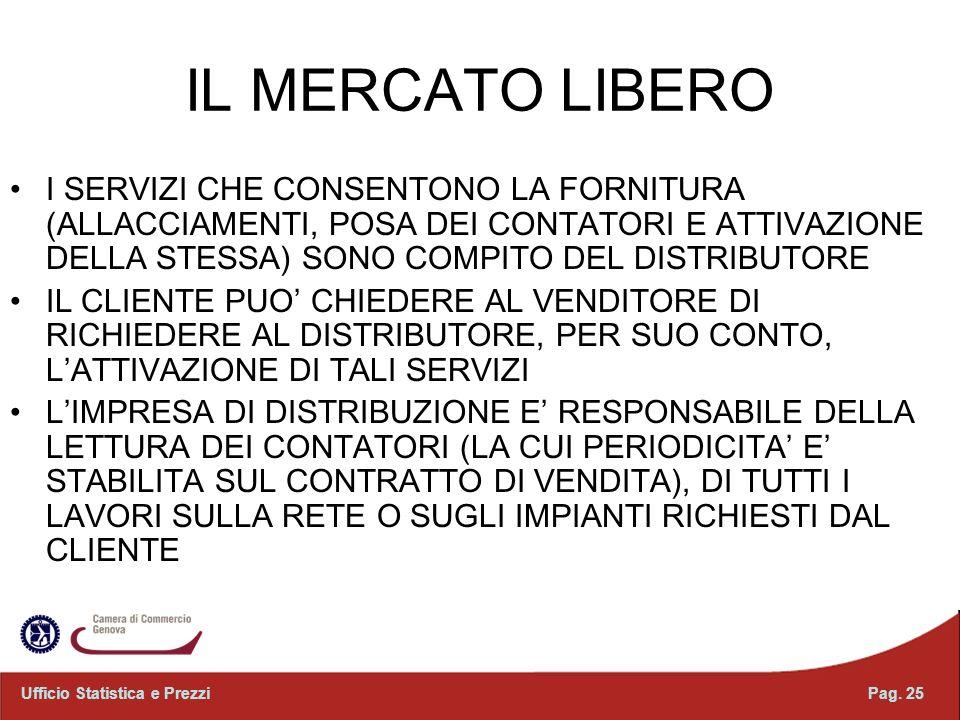 IL MERCATO LIBERO I SERVIZI CHE CONSENTONO LA FORNITURA (ALLACCIAMENTI, POSA DEI CONTATORI E ATTIVAZIONE DELLA STESSA) SONO COMPITO DEL DISTRIBUTORE.