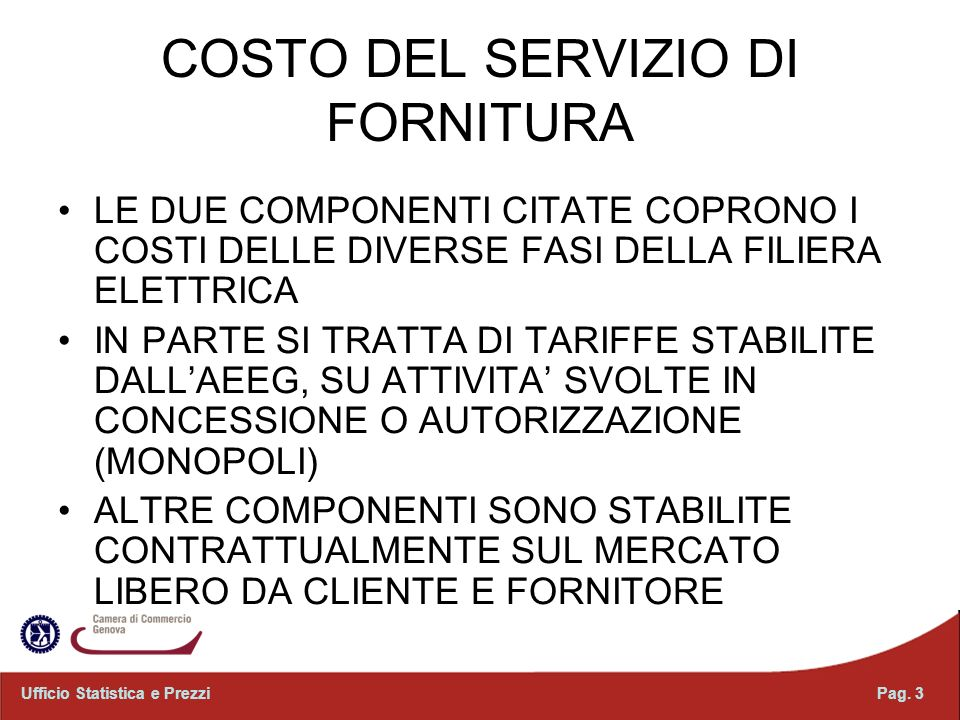 COSTO DEL SERVIZIO DI FORNITURA