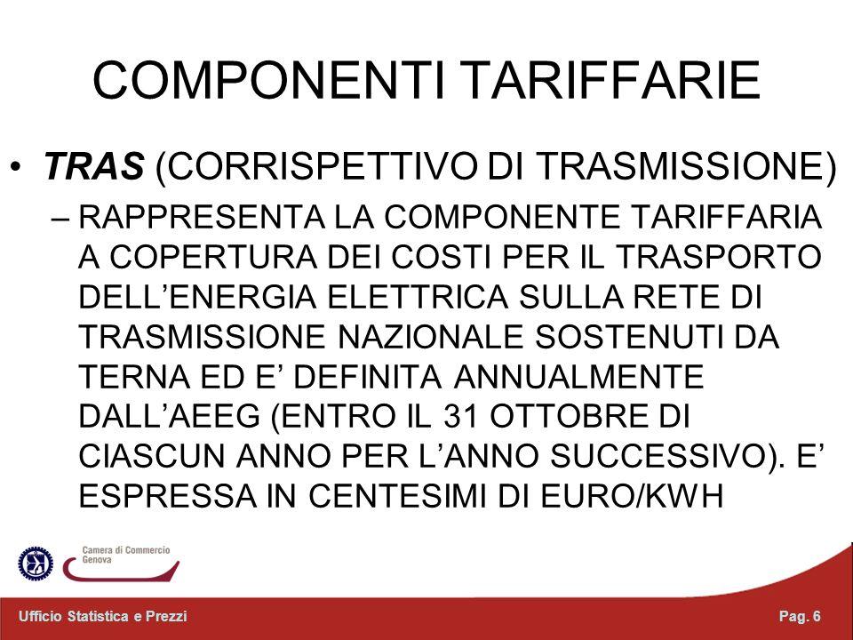 COMPONENTI TARIFFARIE
