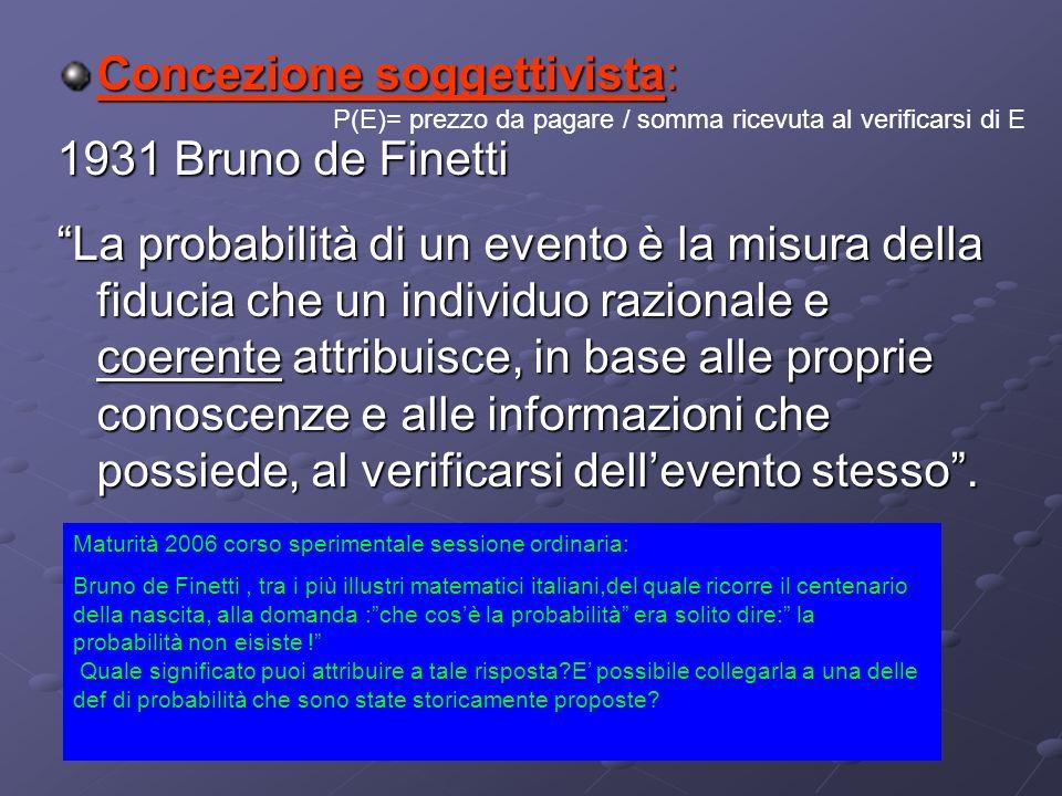Concezione soggettivista: 1931 Bruno de Finetti