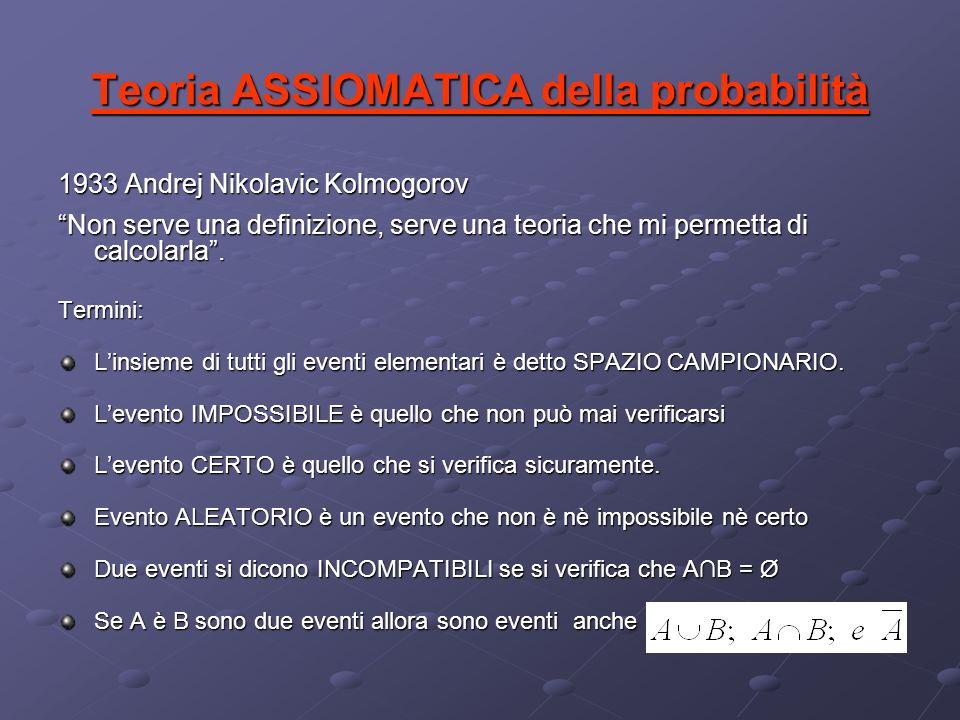 Teoria ASSIOMATICA della probabilità