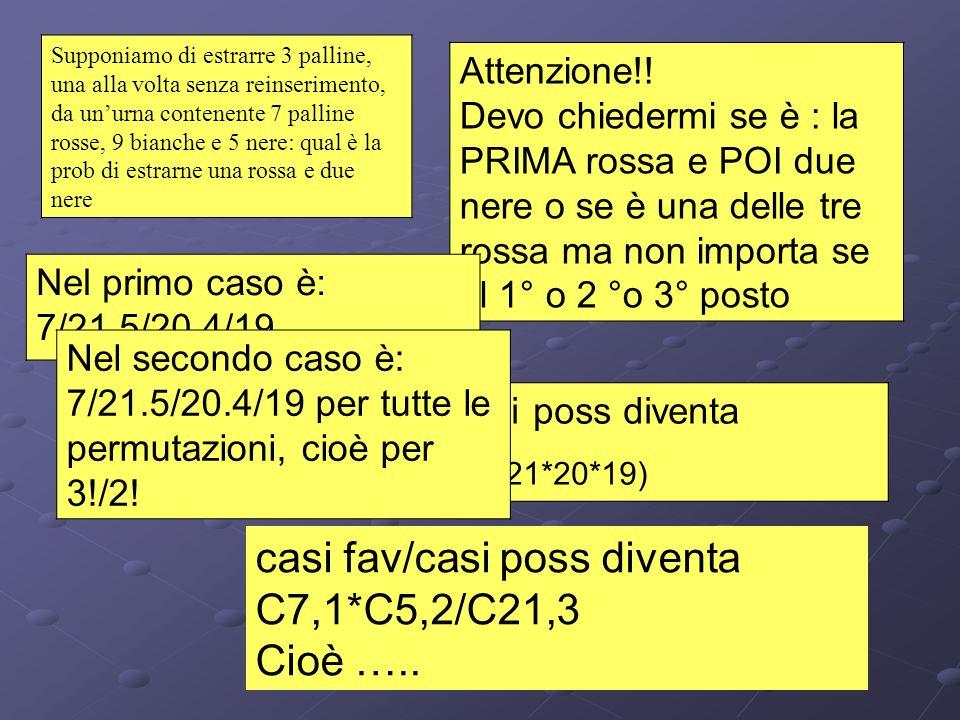 casi fav/casi poss diventa C7,1*C5,2/C21,3 Cioè …..