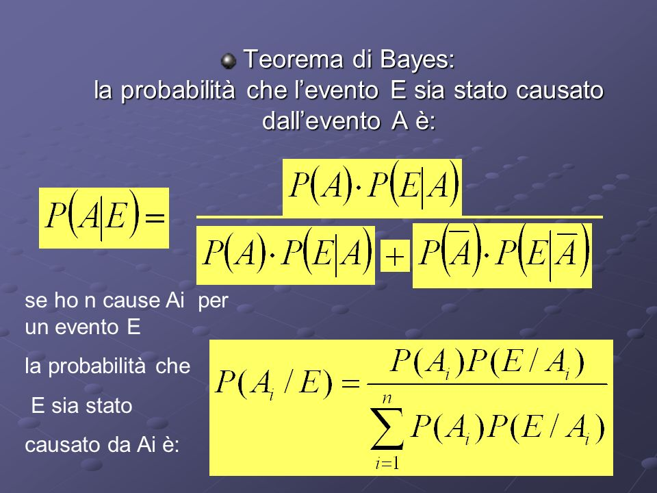Teorema di Bayes: la probabilità che l'evento E sia stato causato dall'evento A è:
