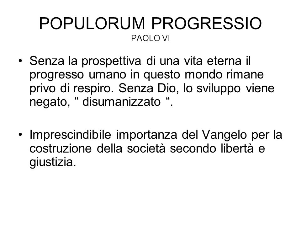 POPULORUM PROGRESSIO PAOLO VI