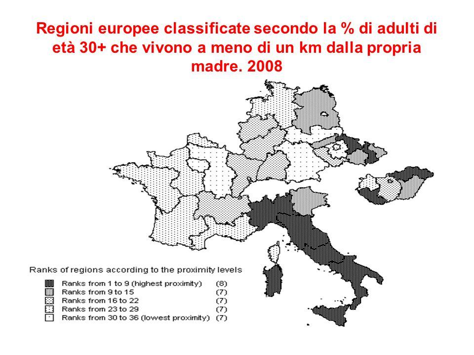Regioni europee classificate secondo la % di adulti di età 30+ che vivono a meno di un km dalla propria madre.