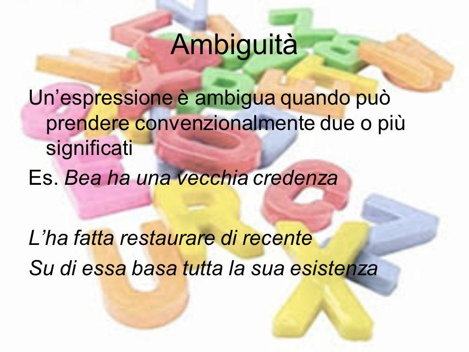 Ambiguità Un'espressione è ambigua quando può prendere convenzionalmente due o più significati. Es. Bea ha una vecchia credenza.