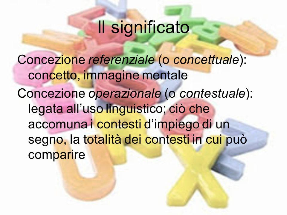 Il significato Concezione referenziale (o concettuale): concetto, immagine mentale.