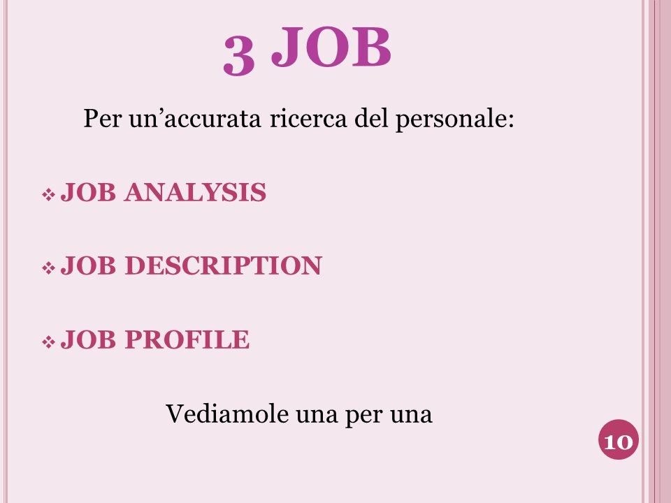 3 JOB JOB ANALYSIS JOB DESCRIPTION JOB PROFILE Vediamole una per una