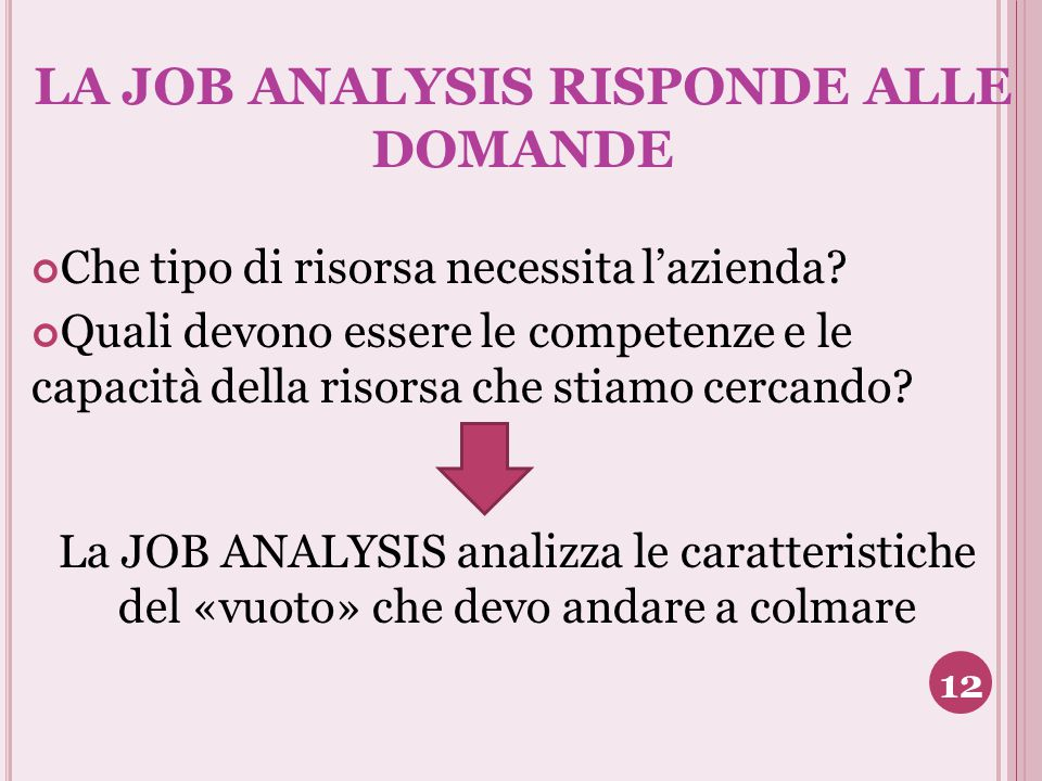 LA JOB ANALYSIS RISPONDE ALLE DOMANDE