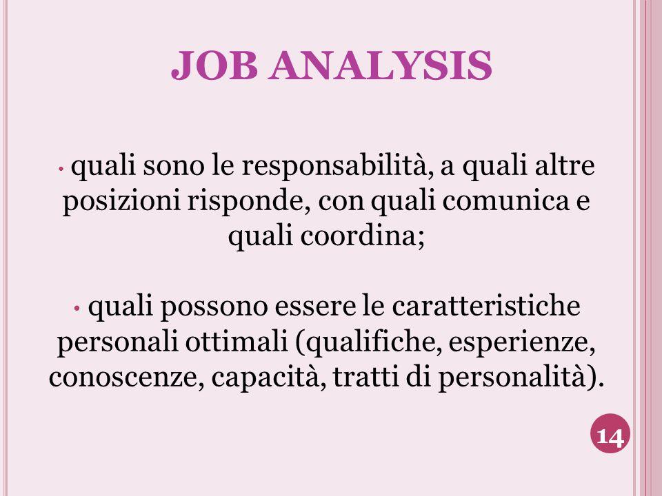JOB ANALYSIS quali sono le responsabilità, a quali altre posizioni risponde, con quali comunica e quali coordina;