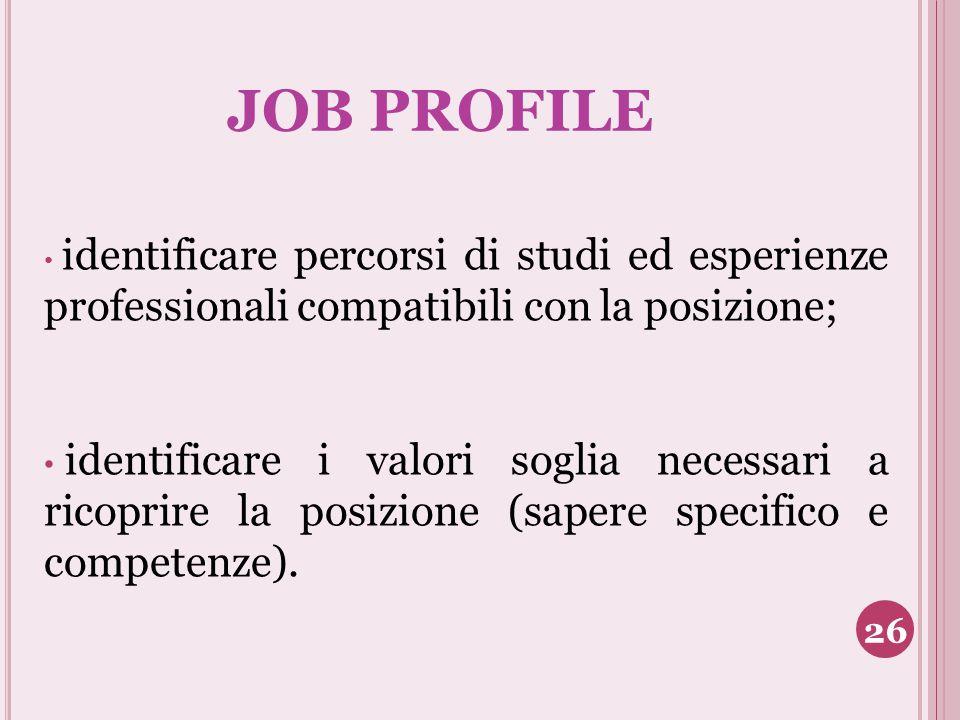 JOB PROFILE identificare percorsi di studi ed esperienze professionali compatibili con la posizione;