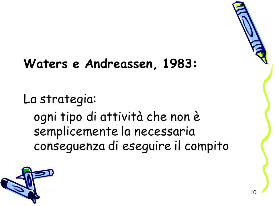Waters e Andreassen, 1983: La strategia: ogni tipo di attività che non è semplicemente la necessaria conseguenza di eseguire il compito.
