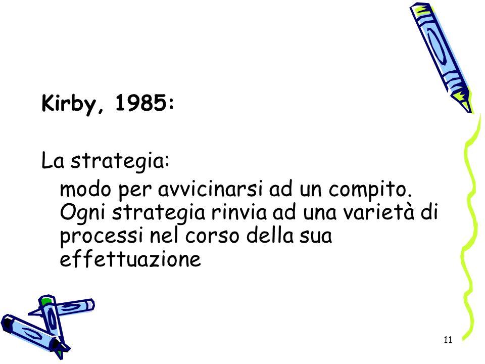 Kirby, 1985: La strategia: modo per avvicinarsi ad un compito.
