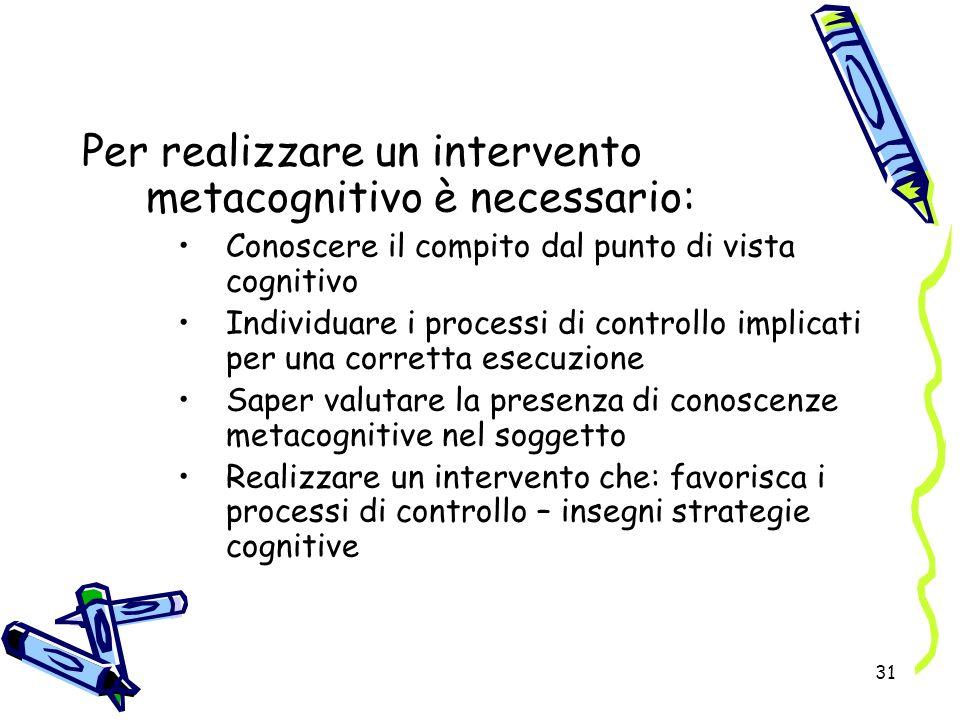 Per realizzare un intervento metacognitivo è necessario: