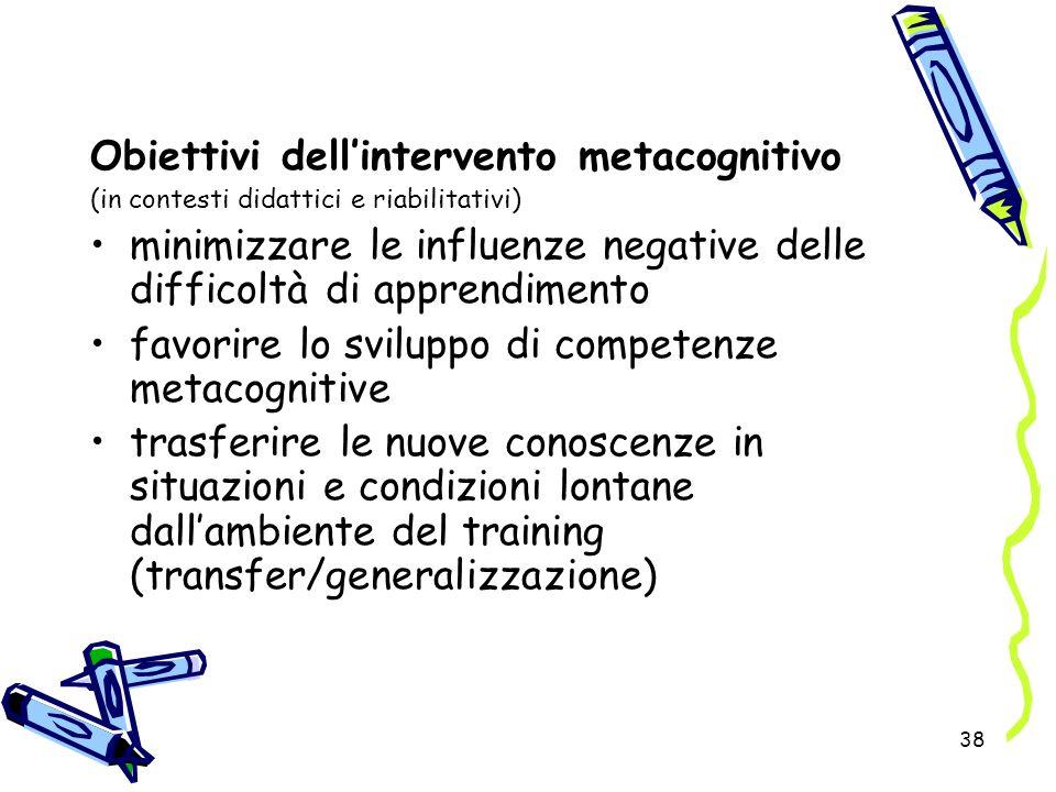 Obiettivi dell'intervento metacognitivo