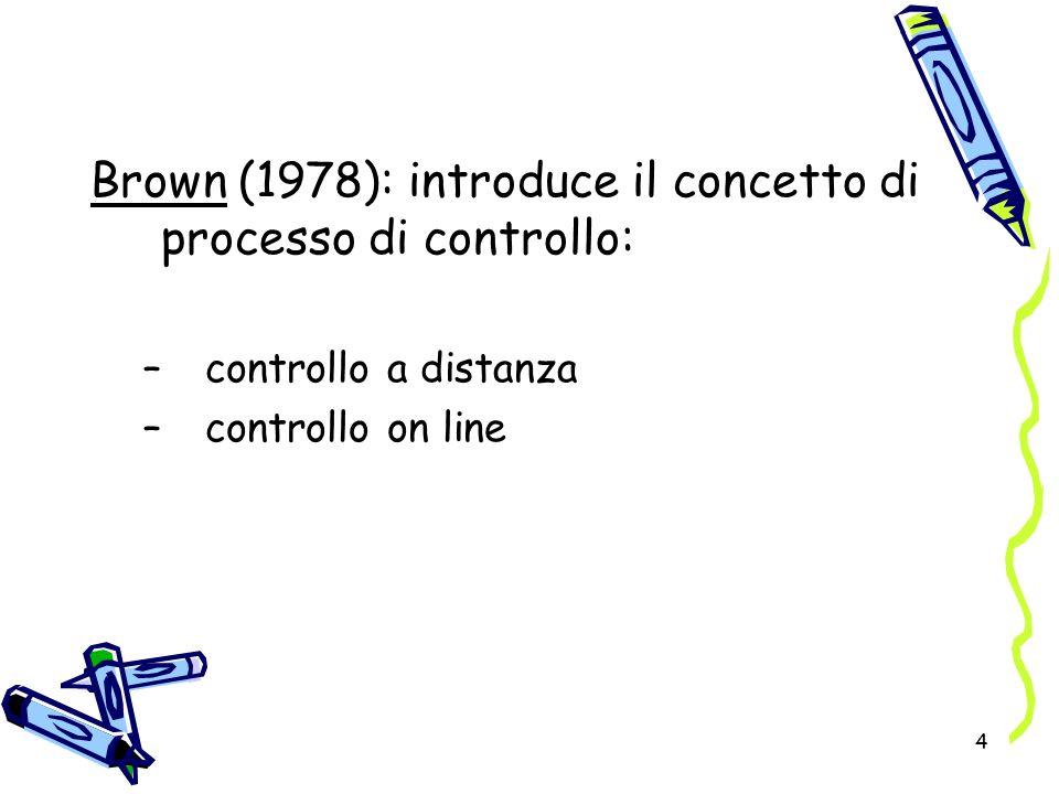 Brown (1978): introduce il concetto di processo di controllo:
