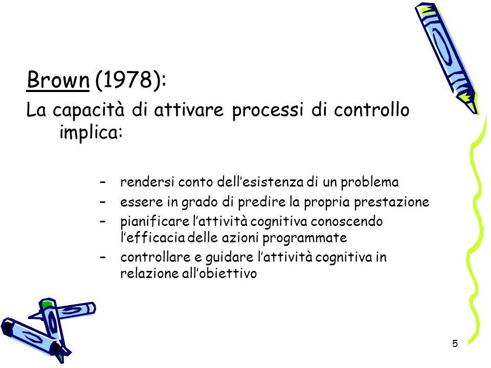 Brown (1978): La capacità di attivare processi di controllo implica: