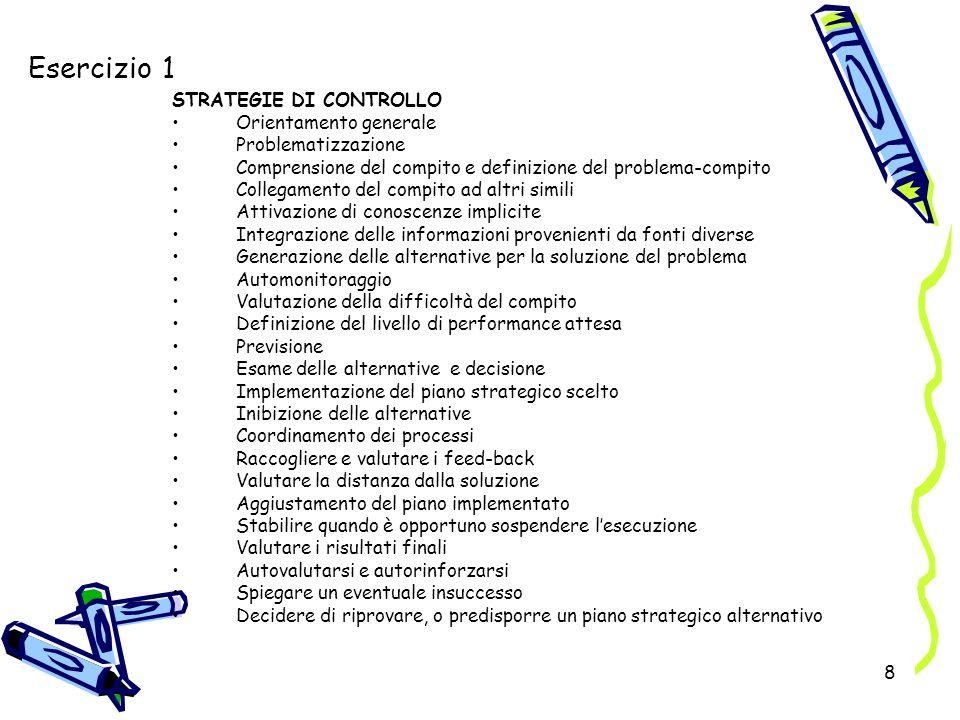Esercizio 1 STRATEGIE DI CONTROLLO Orientamento generale