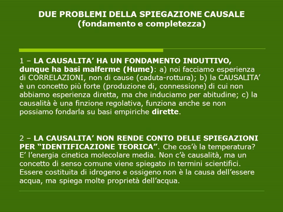 DUE PROBLEMI DELLA SPIEGAZIONE CAUSALE (fondamento e completezza)