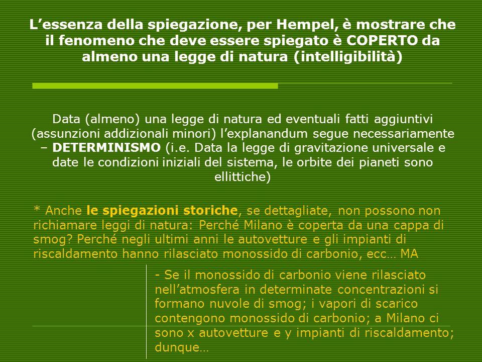 L'essenza della spiegazione, per Hempel, è mostrare che il fenomeno che deve essere spiegato è COPERTO da almeno una legge di natura (intelligibilità)