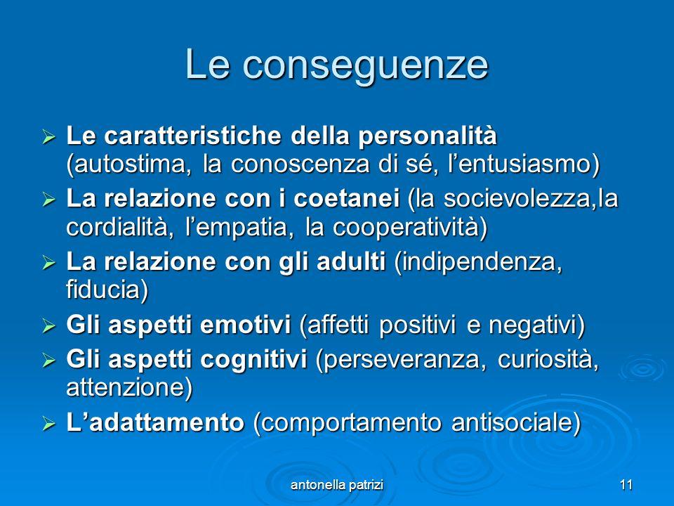 Le conseguenze Le caratteristiche della personalità (autostima, la conoscenza di sé, l'entusiasmo)